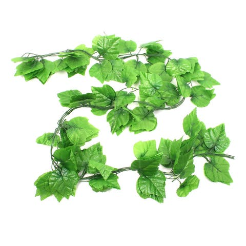 5Pcs Party Wall Hanging Decor Plastic Simulated Leaf Plant Vine 2M - Green