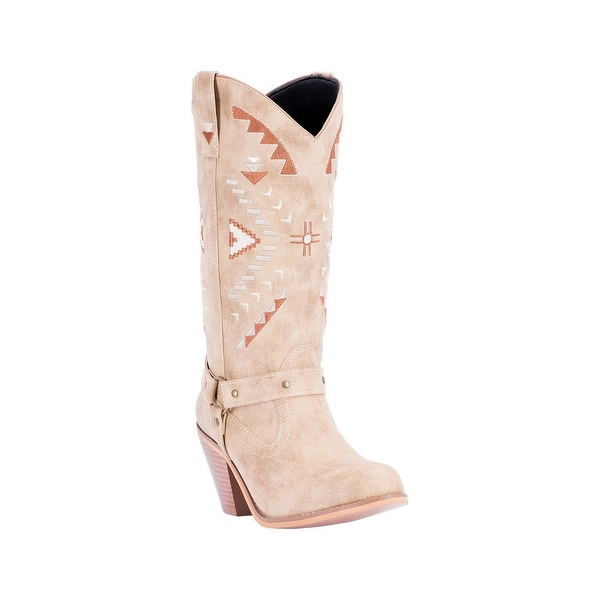 Dingo Western Boots Womens Artesia Aztec Embroidered Round Tan