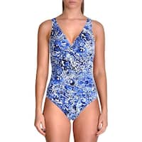Lauren Ralph Lauren Womens Printed Ruched One-Piece Swimsuit