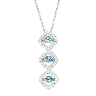 1 3/8 ct Natural Swiss Blue Topaz & Created White Sapphire Floater Pendant in Sterling Silver