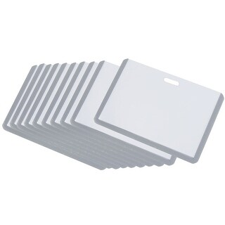 Gray Clear Plastic Horizontal Business Working ID Badge Card Holder 10 Pcs