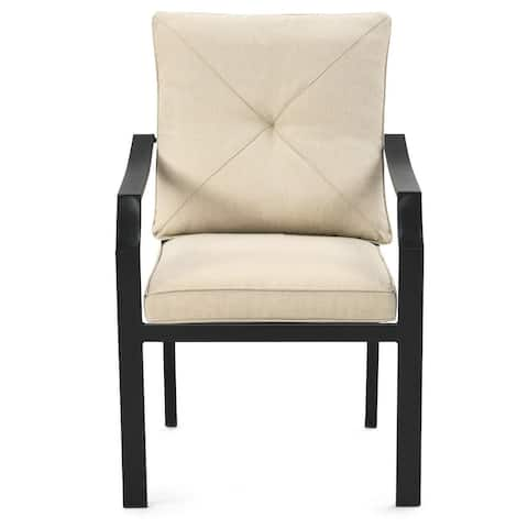 """4 Pieces Outdoor Dining Chairs with Removable Cushions and Rustproof Steel Frame-Beige - 27"""" x 24"""" x 35"""" (L x W x H)"""