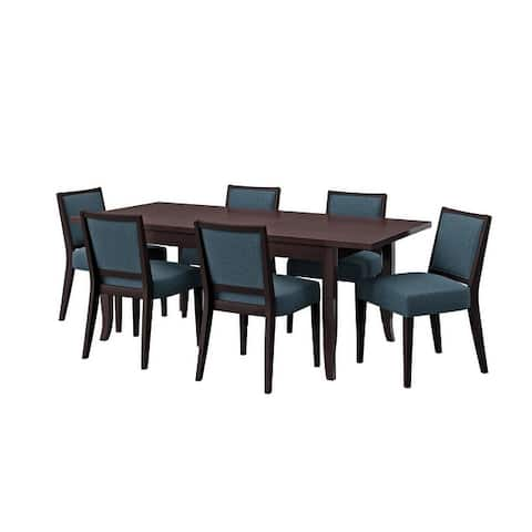 Copper Grove Olin 7-piece Butterfly Leaf Espresso Finish Dining Table and Upholstered Armless Chairs