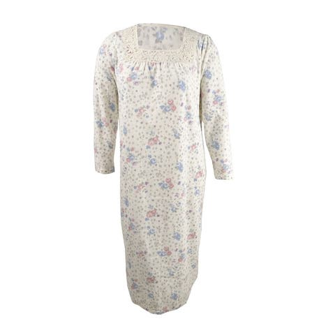 Charter Club Women's Petite Printed Fleece Nightgown (PS, Floral Animal) - Floral Animal - PS