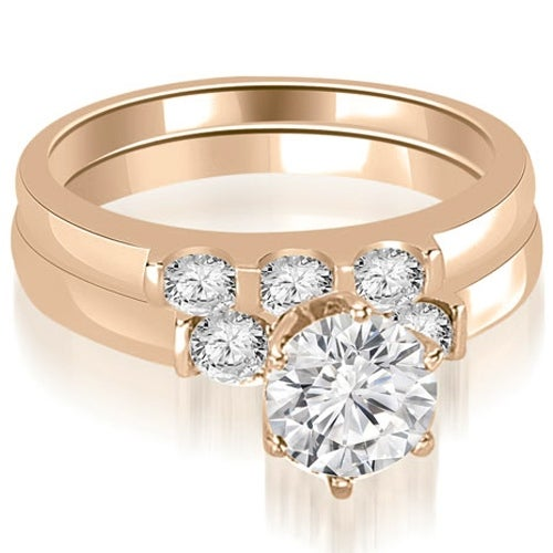 1.25 cttw. 14K Rose Gold Round Cut Diamond Engagement Bridal Set