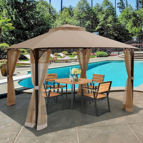 Costway 12' x 10' Outdoor Patio Gazebo Canopy Shelter Double Top