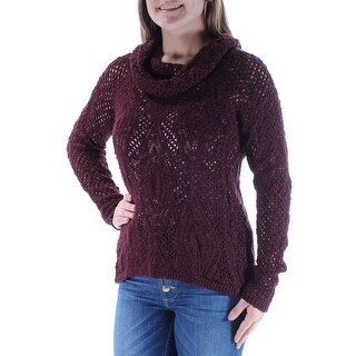 INC $79 Womens New 1013 Burgundy Eyelet Sheer Long Sleeve Sweater M B+B