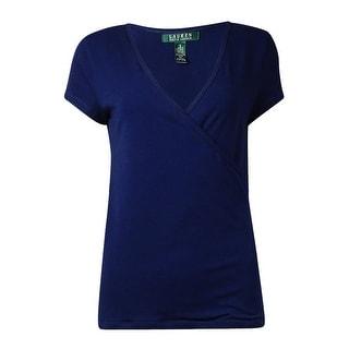 Lauren Ralph Lauren Women's Solid Surplice Neckline Top (S, Navy) - s