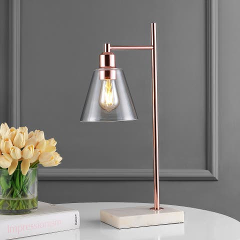 "JONATHAN Y Lorena 22.3"" Modern Metal/Marble LED Table Lamp, Copper"