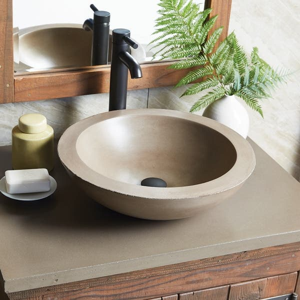 Nativestone Concrete Vanity Top Vessel Sink Cutout With Single Faucet Hole Top Only Overstock 31573172 30 5 Earth