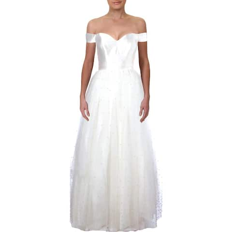 TLC Say Yes To The Prom Womens Juniors Formal Dress Embellished Off The Shoulder - 3/4