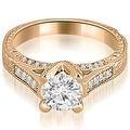 1.00 cttw. 14K Rose Gold Antique Cathedral Round Cut Diamond Engagement Set - Thumbnail 3