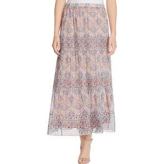 Joie Womens Gurita Maxi Skirt Silk Printed