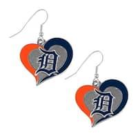 MLB Detroit Tigers Swirl Heart Shape Dangle Logo Earring Set Charm Gift