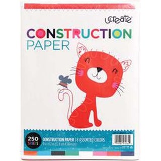"8 Assorted Colors - U-Create Construction Paper 9""X12"" 250/Pkg"