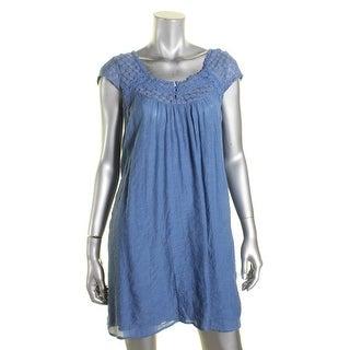 Be Bop Womens Juniors Casual Dress Lace Inset Cap Sleeves Blue XS