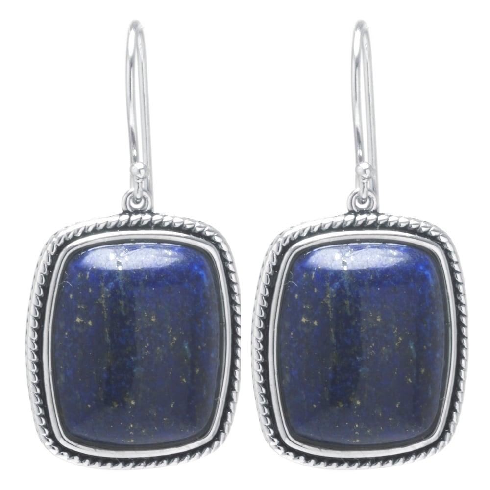 Birthstone Earrings Indian Earrings Lapis Lazuli Jewelry Silver Spiral Earrings Hoop Earrings Lapis Earrings