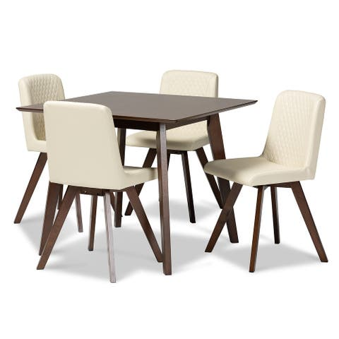 Pernille Modern Transitional Cream Faux Leather Upholstered Walnut Finished Wood 5-Piece Dining Set