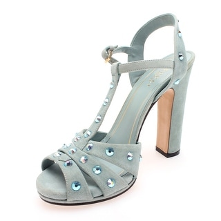 Gucci Women's Suede Studded Strappy Heel Blue