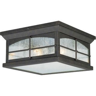 Vaxcel Lighting T0075 Bembridge 2 Light Flush Mount Outdoor Ceiling Fixture with Clear Seeded Glass Shade - 11.13 Inches Wide