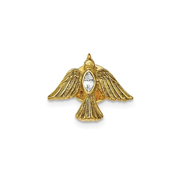 14k Gold IP Crystal Dove Tie Tac