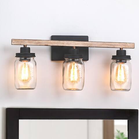 "23 in. 3-Light Black/Wood Tone Rustic Farmhouse Bathroom Vanity Light with Clear Mason Jar Glass Shades - 23""L"