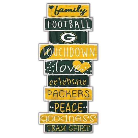 """Green Bay Packers Celebrations Stack 24"""" Wood Sign"""