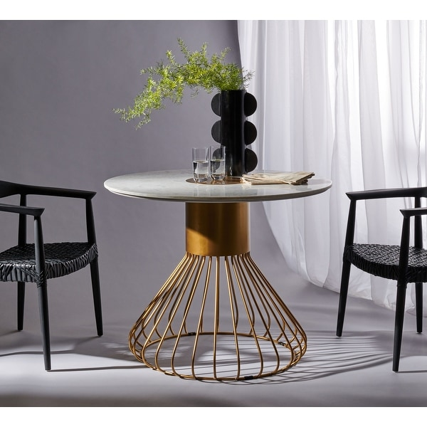 """Safavieh Couture Gwen Pedestal White Marble/Gold Dining Table - 40"""" W x 40"""" L x 31.5"""" H. Opens flyout."""