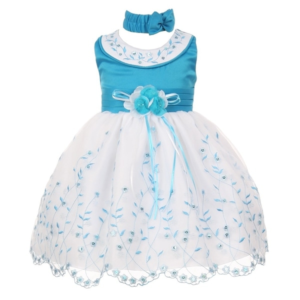Baby Girls Turquoise White Floral Jeweled Easter Flower Girl Bubble Dress 3-24M