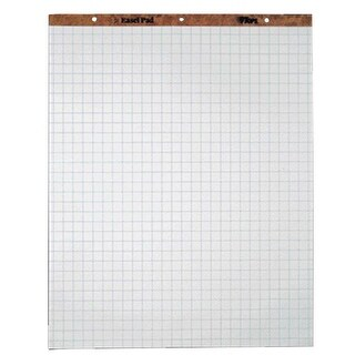 """Tops Ruled Easel Pad, 27"""" x 34"""", 1 in Square, 50 Sheets, White, Pack of 2"""