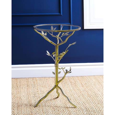 Abbyson Venetian Round Glass Tea Table
