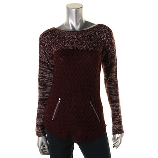 Hooked Up by IOT Womens Juniors Basket-Weave Knit Ombre Pullover Sweater
