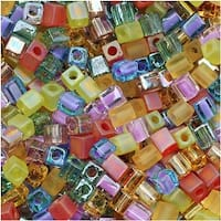 Miyuki 4mm Glass Cube Beads Color Mix Prairie Rainbow 10 Grams