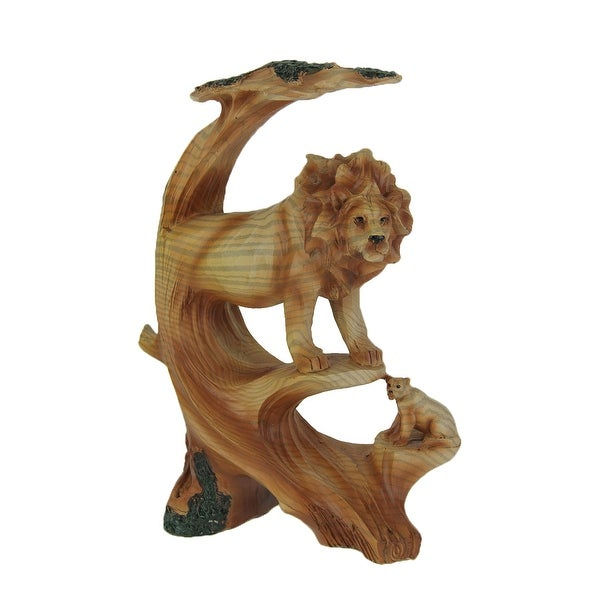 Carved Wood Look Lion and Cub in Tree Statue - 8.75 X 6.25 X 2.75 inches