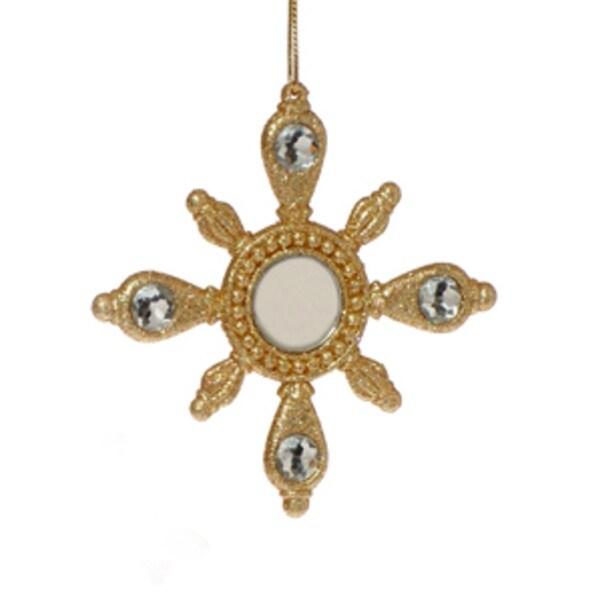 Gold Glitter Mirrored Snowflake Christmas Ornament #2612510