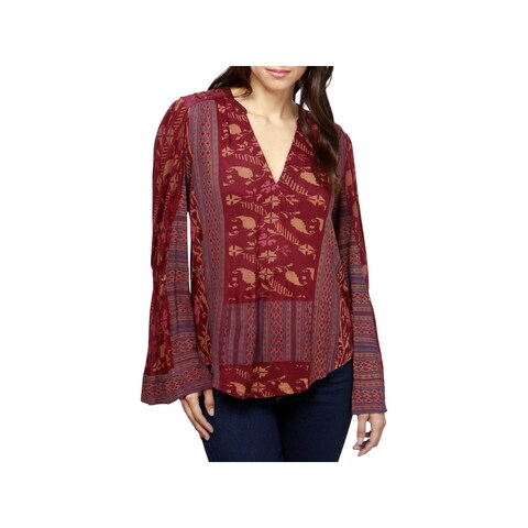 Lucky Brand Womens Peasant Top Printed V-Neck