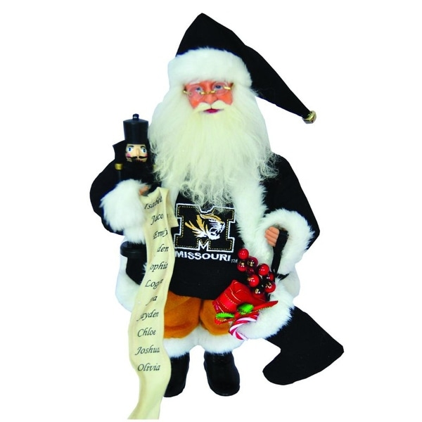 "15"" NCAA Missouri Tigers Santa Claus Christmas Figure with Nutcracker & Stocking - Black"