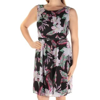 Womens Black Floral Sleeveless Above The Knee Fit + Flare Dress Size: 10