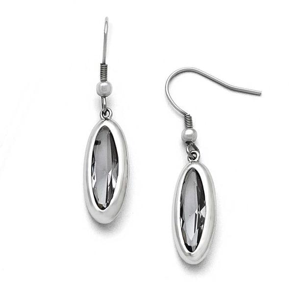 Chisel Stainless Steel Polished Glass Oval Shepherd Hook Dangle Earrings