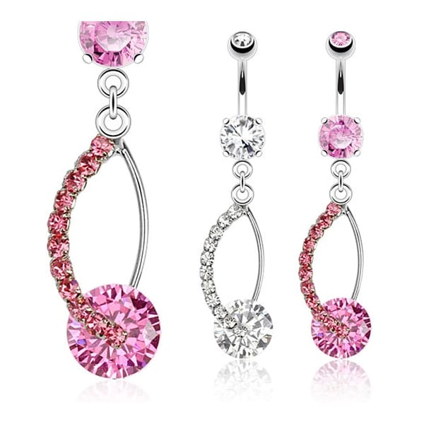 Hollow CZ Paved Oval with a Large Gem Dangle Navel Belly Button Ring 316L Surgical Steel (Sold Ind.)