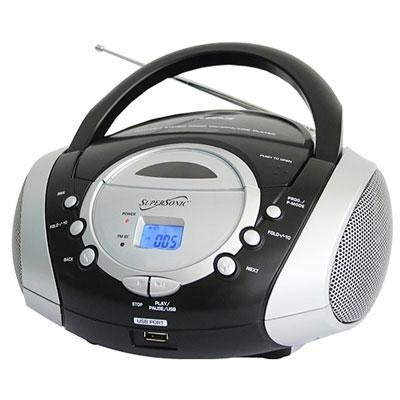 Supersonic Sc-508Silver Portable Mp3/Cd Player/Audio System With Usb Card Slot