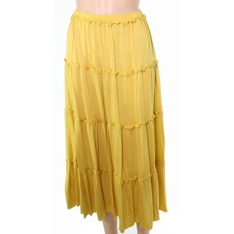 INC Women's Skirt Petite Stretch Knit Ruffled Midi