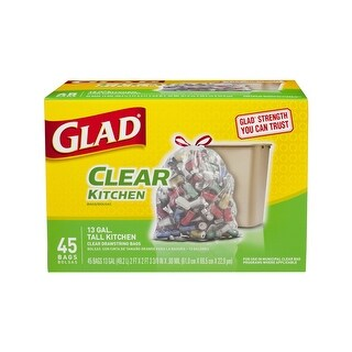 Glad 78543 Recycling Tall Kitchen Drawstring Clear Bags, 13 Gallon