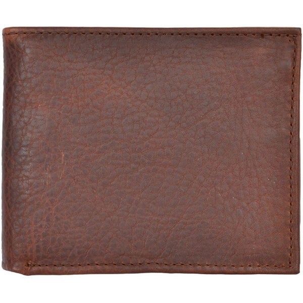 3D Western Wallet Mens Leather Bifold Pebble Dark Brown - One size