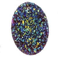 Dazzle It! Resin Sugar Stone Druzy, 25x18mm Oval Sew-on Cabochons, 5 Pieces, Red AB