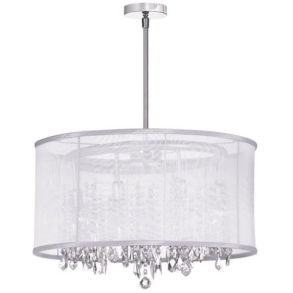 Bohemian 8 Light Crystal Chandelier With White Organza Drum Shade