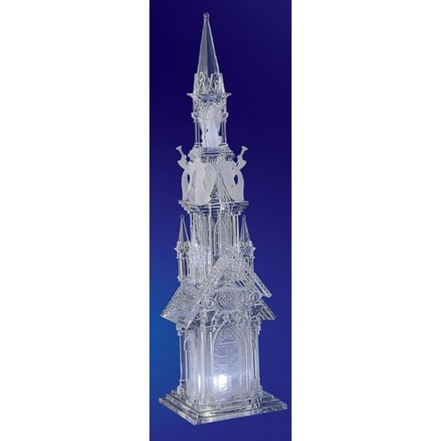"Pack of 2 Icy Crystal Decorative Religious Five Angel Cathederal Figurines 18.8"" - CLEAR"