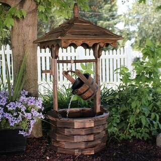e786f744e1e Shop Sunnydaze Old-Fashioned Wood Wishing Well Water Fountain with ...