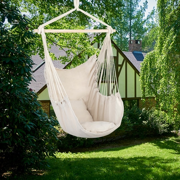 Distinctive Cotton Canvas Hanging Rope Chair with Pillows. Opens flyout.