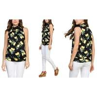 RIAH FASHION Women's Lemon Print Mock Neck Sleveless Top S-3X